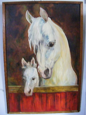 Lg Arabian Mare & Foal Oil on Board Painting by Marge Sharrow Horse Art