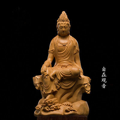 D026- 12*7*4.5 CM High Carved Boxwood Carving Figurine- Elegant Fairy Kwan-yin