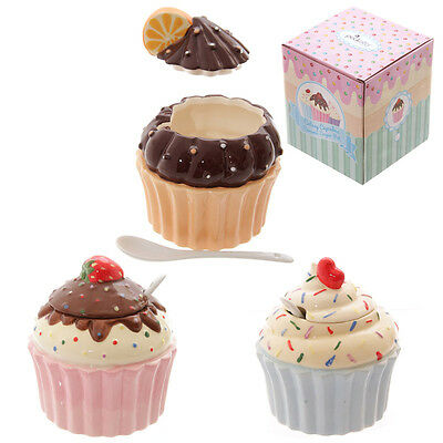 Fun Ceramic Cute Cupcake pot with lid and spoon  fairy cake cup cake