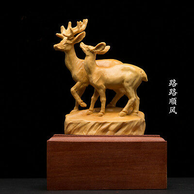 D027-  Carved Boxwood Carving Figurine- Sweet Deers Couple