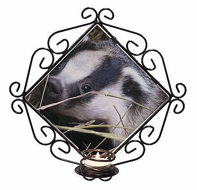 Badger in Straw Wrought Iron T-light Candle Holder Gift, ABA-1CH