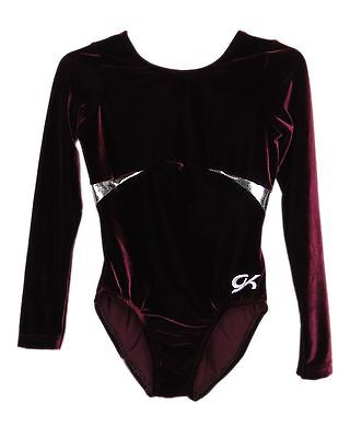 GK Elite Gymnastics Leotard - Burgundy Velvet - CL Child Large NEW