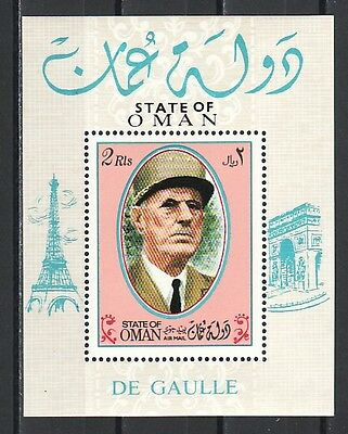 * Oman State, 1972 issue. Charles de Gaulle s/sheet.