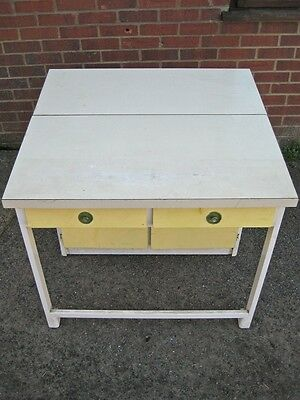 1950s vintage white yellow painted free standing extending table kitchen cabinet