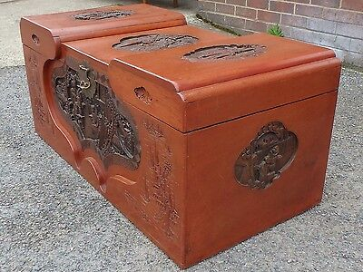 Art Deco antique Chinese carved solid camphor wood coffer blanket trunk chest