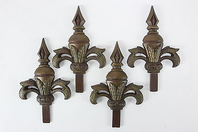 4 JUDD Curtain Rod Ornamental Finials Cast Metal Fleur De Lis Shape Art Nouveau