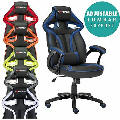 Gtforce Roadster 1 Sport Racing Car Office Gaming Chair Leather Lumber Support