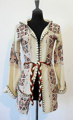 vtg 70s NATIVE INDIAN PRINT hooded WRAP SWEATER size MEDIUM