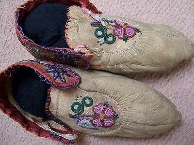 Authentic Circa 1890's Beaded Great Lakes Ojibwe Moccasins