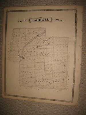 Fine Rare Antique 1876 Carroll County Delphi Pittsburg Chauncey Indiana Map Nr