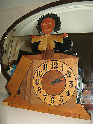 Vintage Quirky Handbuilt Jack in the box Mantel Wind-up Clock Garrard Movement