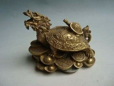 antique excellent old bronze carved statue Dragon Statue Longevity turtle
