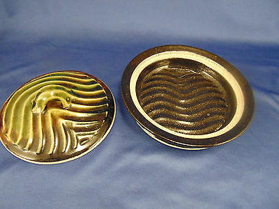 Hand crafted herb dish lid glazed rippled design kitchen accessory food art