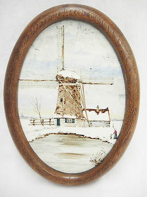 Antique Rembrandt Pottery Oval Tile Handpainted Windmill in Wooden Frame Holland