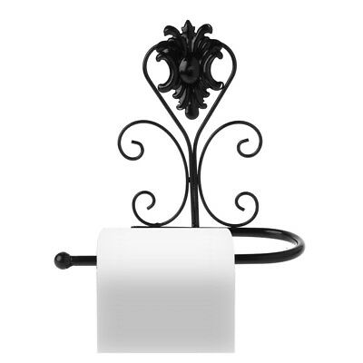 Vintage Iron Toilet Paper Towel Roll Holder Bathroom Wall Mount Rack Black New