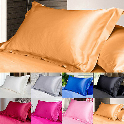 1PC Summer New Silk Satin Soft Pillow Cases Standard Comfort Solid Protector