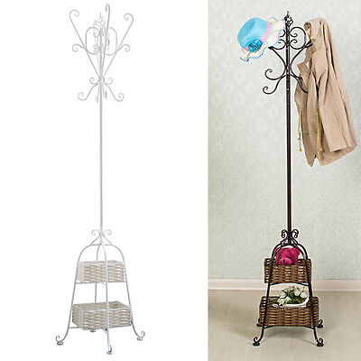 1.8m Vintage Style Metal Hat Coat Pipe Stand Umbrella Holder Hook Rack 2 Basket
