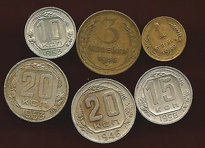 Russia 1957 Lot Of 6 Coins