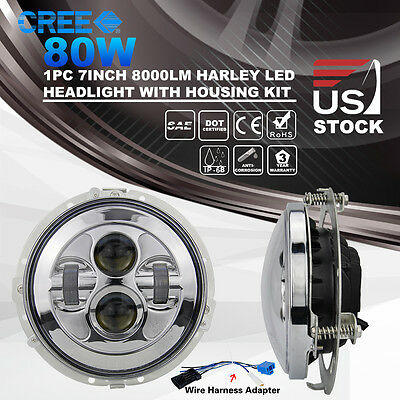 7Inch 80W CREE LED Headlight Daymaker With Mounting Bracket Ring Harley Davidson