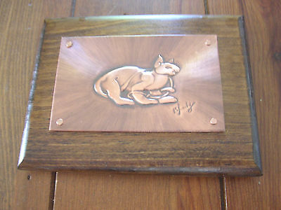 Celtic Cat Copper Wall Plaque, signed original art