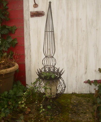 GARDEN GROWTH SUPPORT OBELISK BALL 80cm HIGH ANTIQUE COUNTRY STYLE
