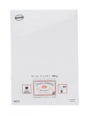 Crown Mill A4 Watermarked 50xPaper White Verge-Ribbed