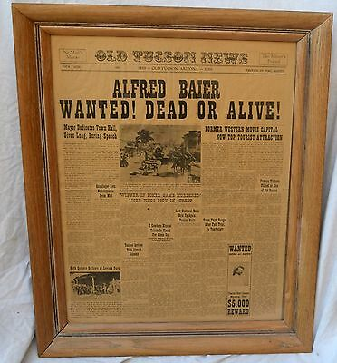 1859 Framed Tucson News Wanted Poster Alfred Baier and Charlie (Rat) Cooper
