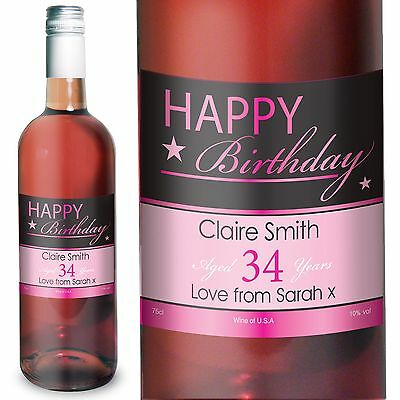Personalised Happy Birthday Rose Wine - Christmas, For Her, For Him