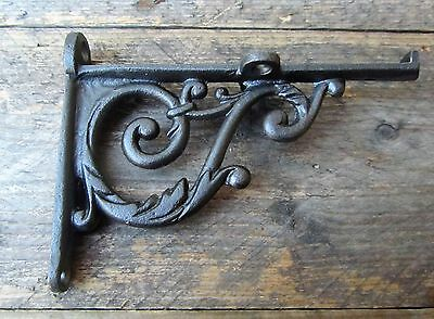 Pair Victorian Scroll Cast Iron Shelf Bracket Vintage Rustic Style Antique 4.5""