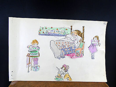 Lovely Watercolor Painting Girl in Bed Eating Doing Hair 1940's Original