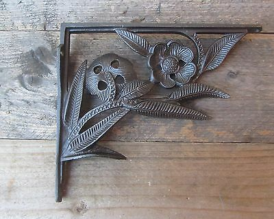 Cast Iron Shelf Wall Bracket Art Nouveau Flower Vintage Rustic Style Antique