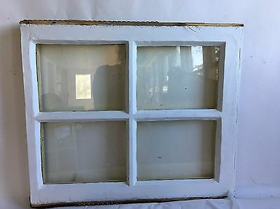 Antique Vintage 4 Lite Window Sash Shabby Cottage Chic White & Yellow A10