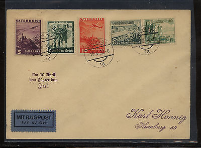 Austria  C32,C33 with German stamps on cover  1938       EX0327