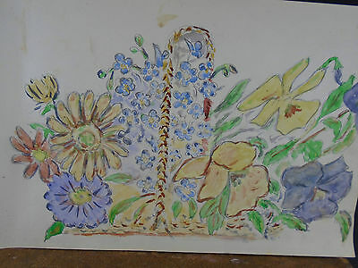Lovely Watercolor Painting Floral Flowers 1940's Original