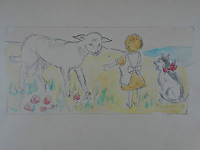 Lovely Watercolor Painting Small Girl Large Sheep & A Cat 1940's Original