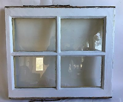 Antique Vintage 4 Lite Window Sash Shabby Cottage Chic White & Yellow A11