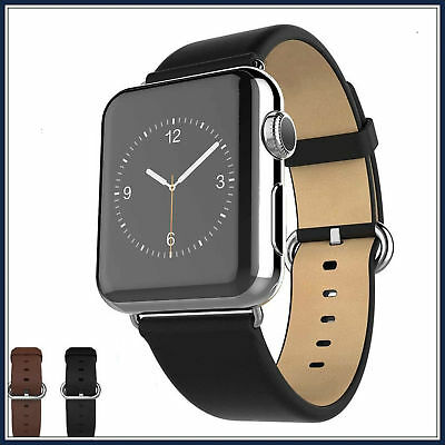 Black Luxury Leather Watch Band Strap Bracelet Classic Buckle Apple Watch 42mm