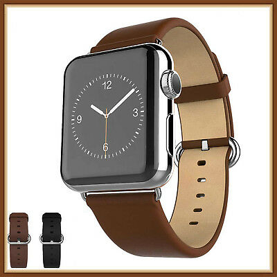 Brown Luxury Leather Band Strap Bracelet Classic Buckle For Apple Watch 42mm