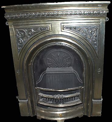 Beautiful cast iron highlight silver polish victorian style mantel