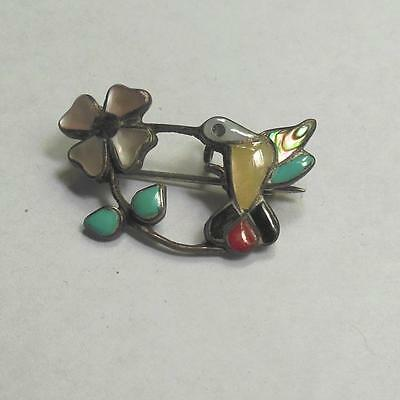 Vintage Sterling Silver Pin Hummingbird and Flower Turquoise and Shell