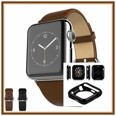 Brown Luxury Leather Watch Band Strap Bracelet Buckle Apple 42mm Black Case x 1
