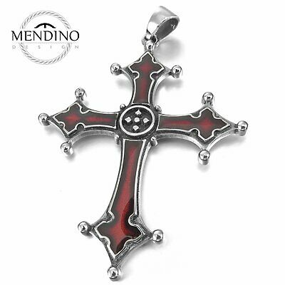 MENDINO Men's Big Stainless Steel Enamel Pendant Necklace Celtic Medieval Cross