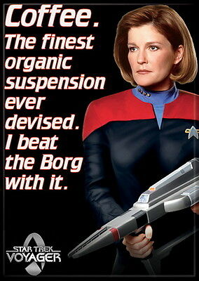 Star Trek Voyager Janeway Coffee Quote Image Refrigerator Magnet, NEW UNUSED