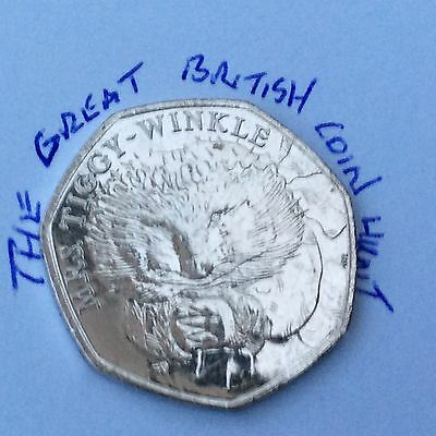 UNCIRCULATED 2016 MRS TiggyWinkle Hedgehog Beatrix Potter 50p Sealed Bag 20 Coin