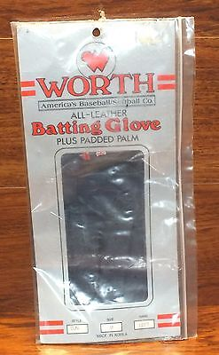 Genuine Worth All Leather Baseball Batting Glove + Padded Palm Left Hand Medium