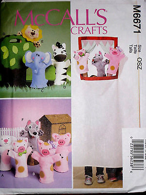 McCalls Childrens Three Little Pigs Puppets Animals Carry Bag Pattern 6671 UNCUT
