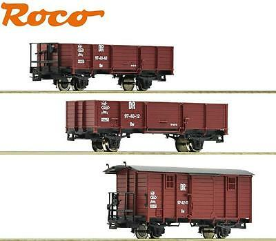 Roco H0e 31031-2 Narrow gauge Freight Car Set the DR 3-piece - NEW