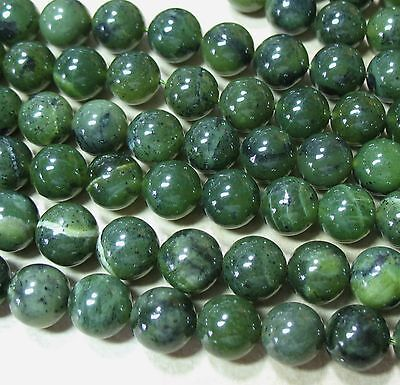 """Canadian Nephrite Green Jade 10mm Round Beads 15.5"""" Genuine Stone Natural Color"""