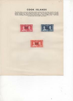 Cook Islands 1937 George VI Coronation issue of 3 Mint stamps