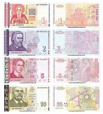 Bulgaria 1 + 2 + 5 + 10 Leva Set of 4 Banknotes  4 PCS  UNC